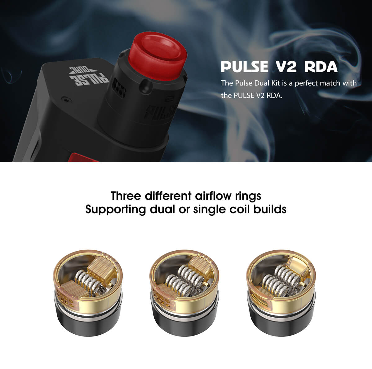 Vandy Vape Pulse Dual Kit Pulse V2 RDA & Different Airflow Ring Options