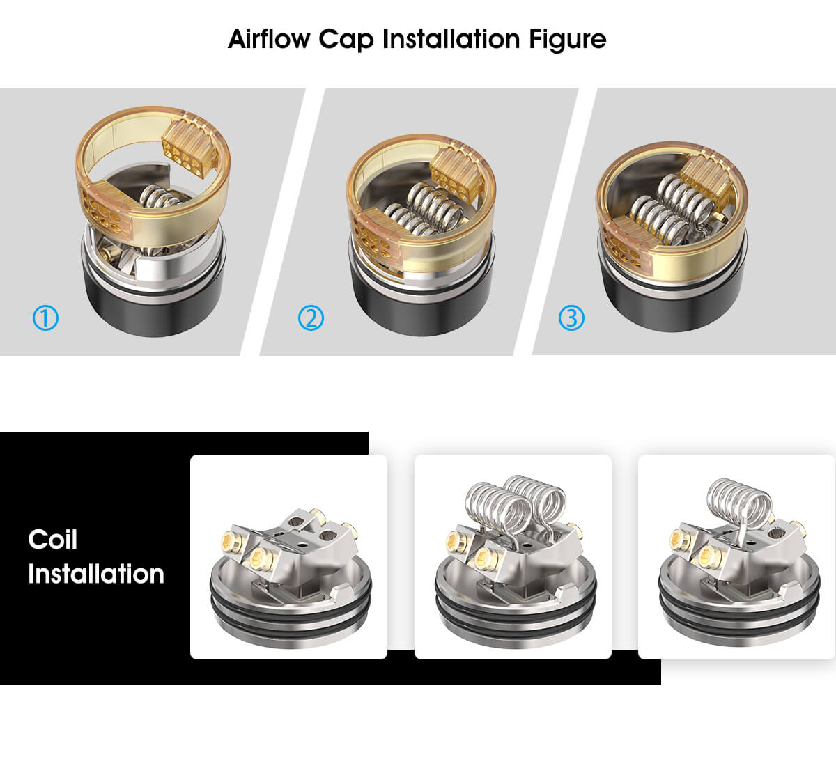 Vandy Vape Pulse Dual Kit Airflow Cap Installation Figure & Coil Installation