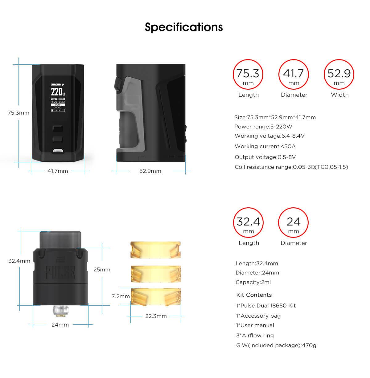 Vandy Vape Pulse Dual Box Mod & Pulse V2 RDA Specifications