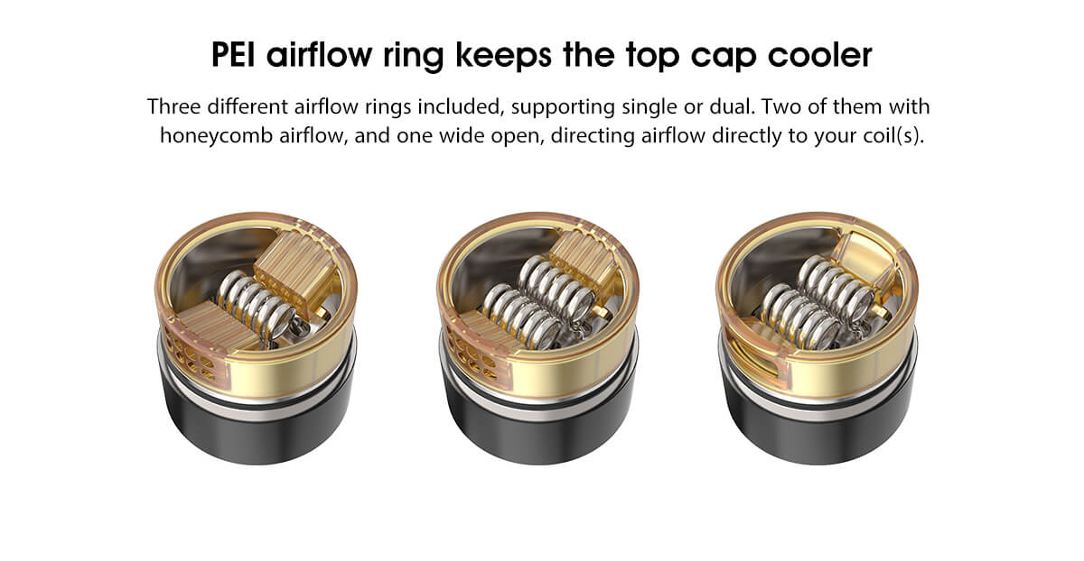 Vandy Vape Pulse V2 RDA PEI Airflow Ring Keeps The Top Cap Cooler