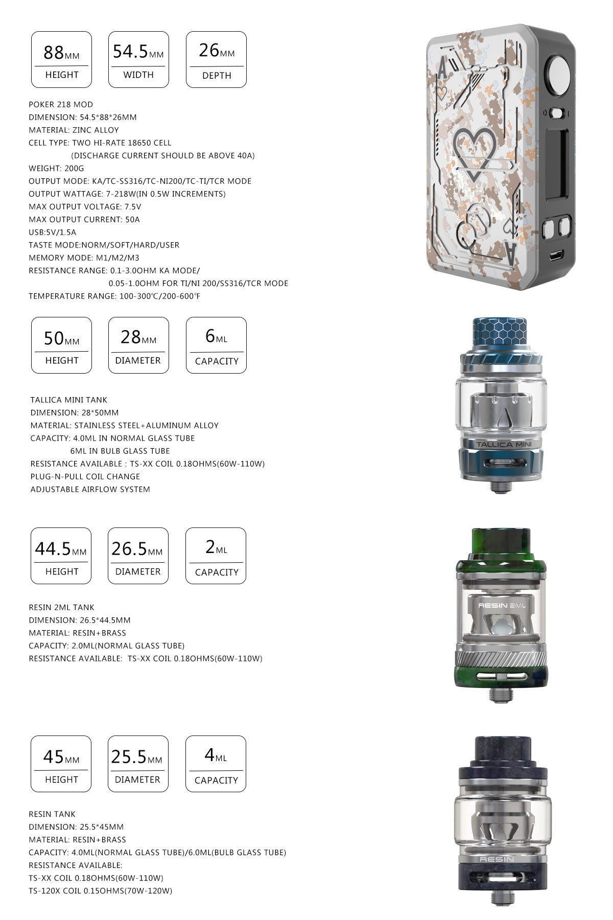 Teslacigs POKER 218 TC Box Mod And Tanks Specifications