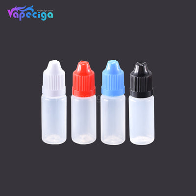 PET Semi-transparent Dropper Bottle 10ml with Black / White / Red / Blue Cap 5PCs