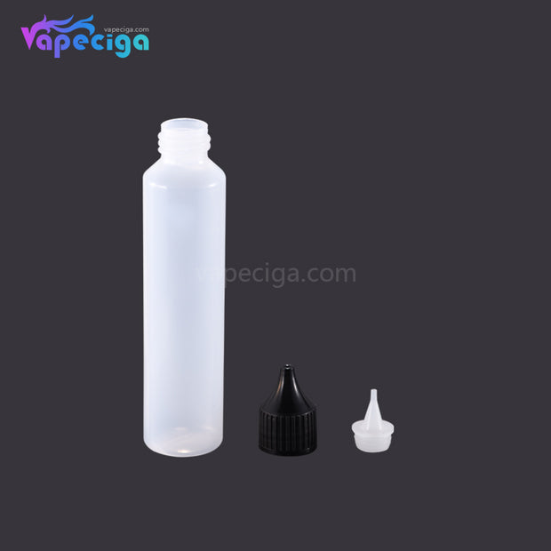 PET Semi-transparent Dropper Bottle 50ml with Black / White Cap 5PCs