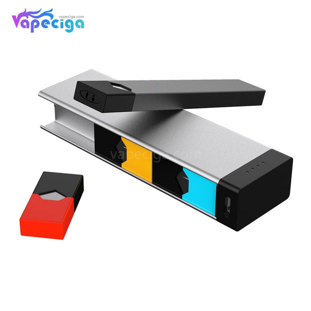 E-Boss Vape Full II Power Bank Charging Box with Leather Protector for JUUL 1100mAh display