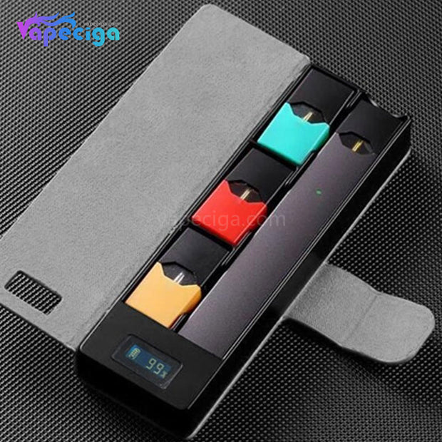 E-Boss Vape Full II Power Bank Charging Box with Leather Protector for JUUL 1100mAh - Grey