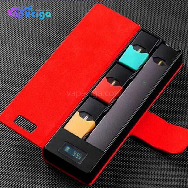 E-Boss Vape Full II Power Bank Charging Box with Leather Protector for JUUL 1100mAh - Red