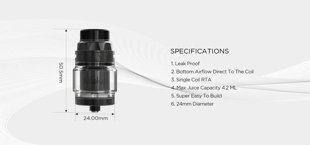 AUGVAPE INTAKE RTA Top Air Flow Single Specification