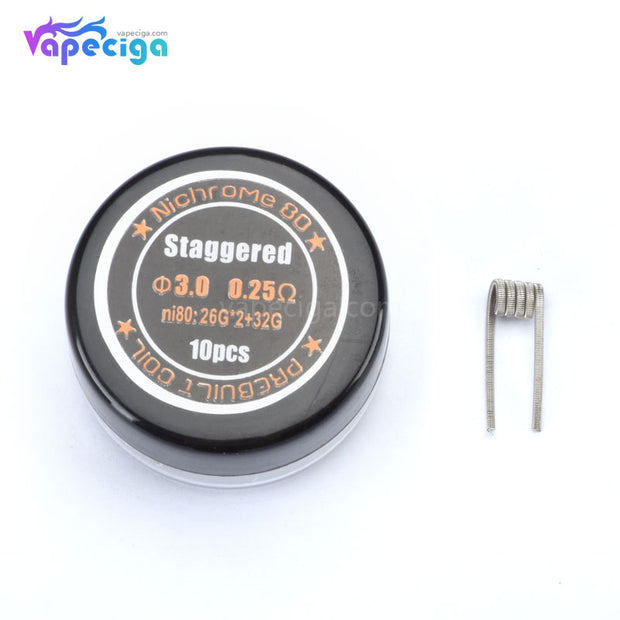 Staggered Ni80 Prebuilt Coil 0.25ohm 10PCs