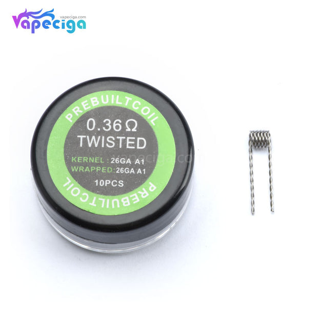 Twisted Prebuilt Coil 10PCs 0.36ohm