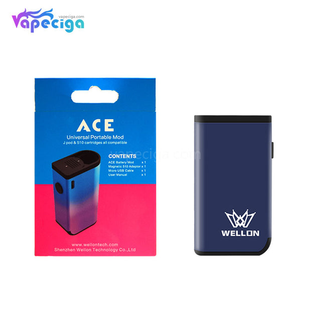 WELLON ACE 2-in-1 VV Box Mod 400mAh Compatible With JUUL Pod & 510 Tank Package