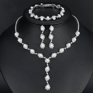 Simple Crystal Necklace Earrings Bracelets Sets