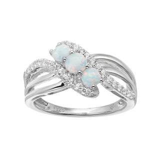 Sterling Silver Lab-Created Opal & White Sapphire 3 Stone Bypass Ring