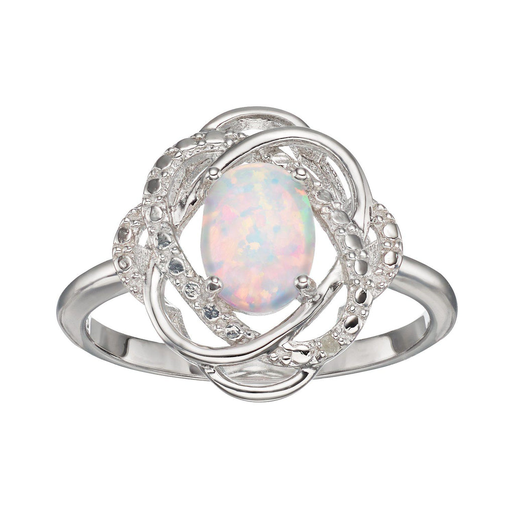 Sterling Silver Lab-Created Opal & Diamond Accent Knot Ring