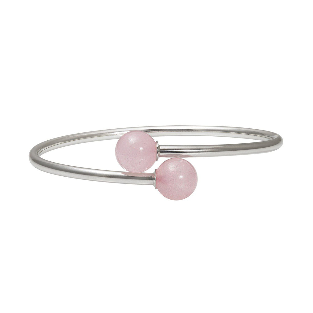Sterling Silver Rose Quartz Bypass Bangle Bracelet