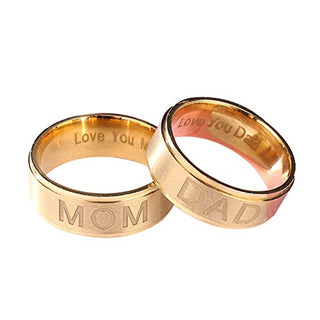 Fashion Mom/Dad Stainless Steel Carving Ring