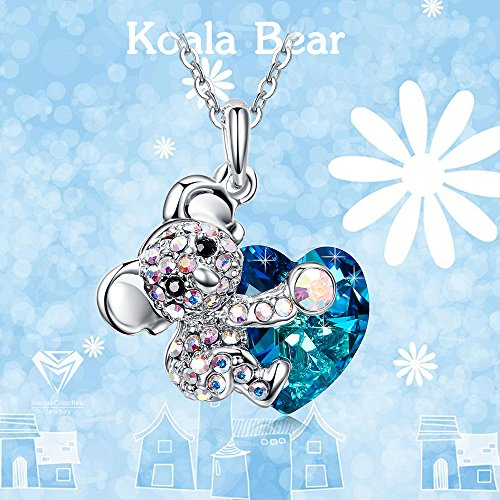 Koala Bear Blue Heart Pendant Necklace