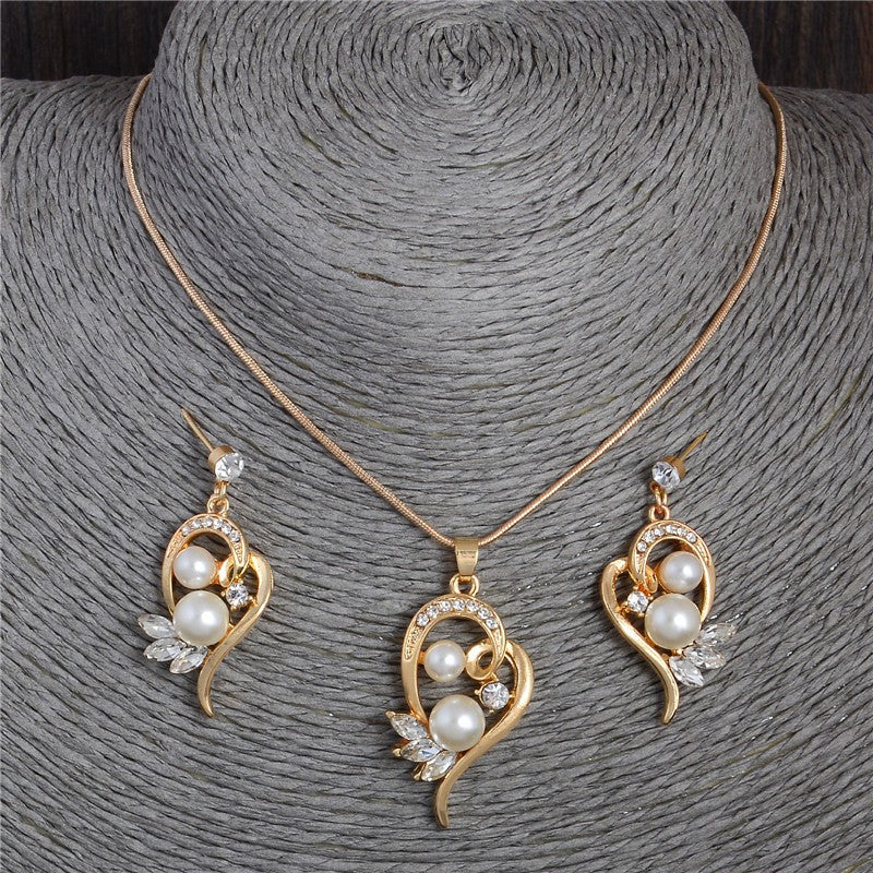 Pearl Necklace Earrings Set