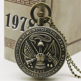Vintage Bronze USA Department Of The Army Pocket Watch