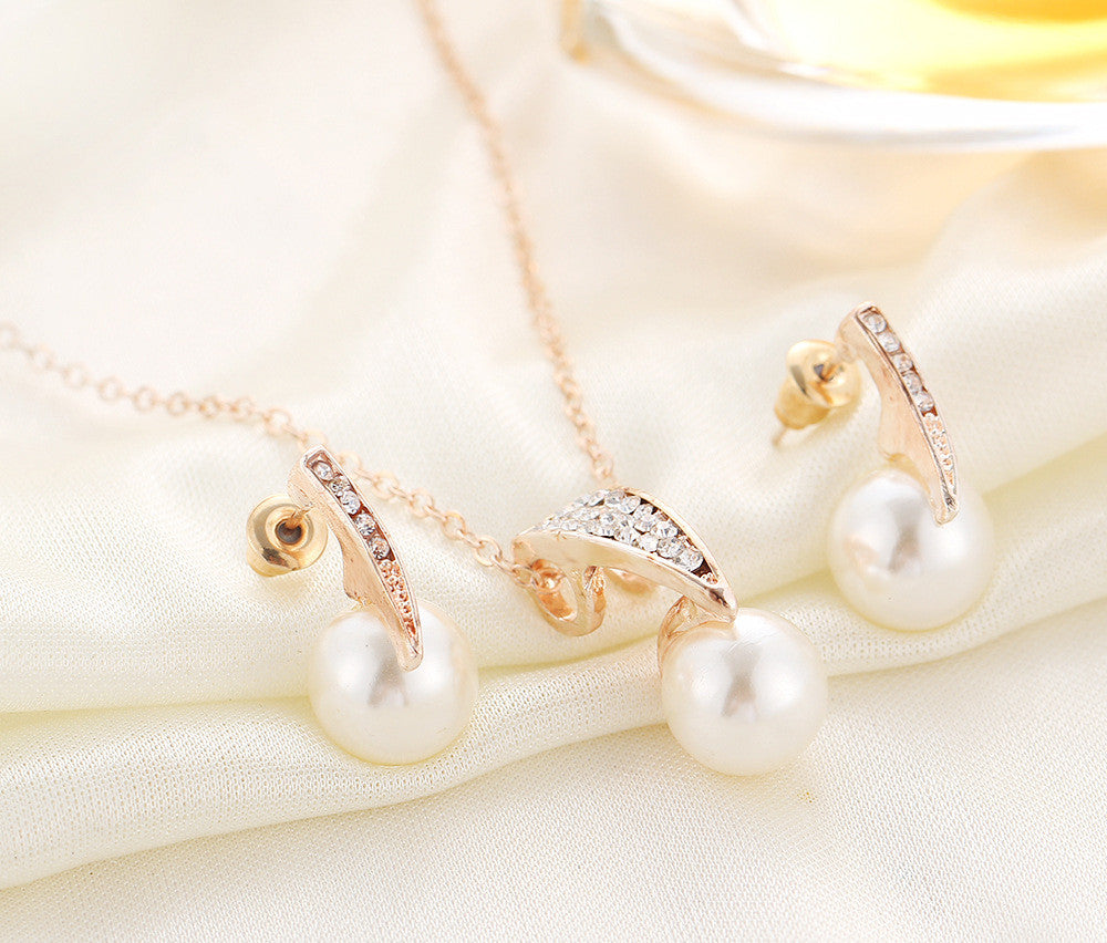 Pearl Rhinestone Jewelry Set