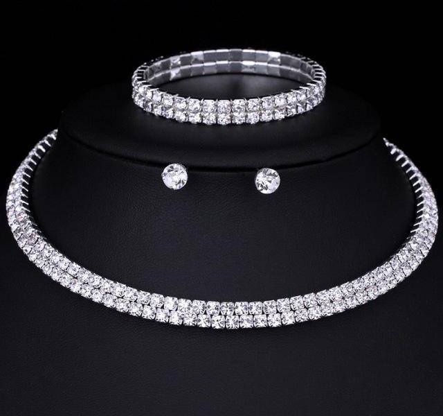Crystal Circle Bridal Jewelry Sets