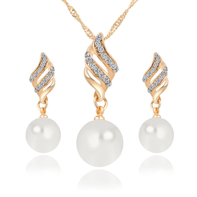 Simulated Pearl Wedding Party Jewelry Sets