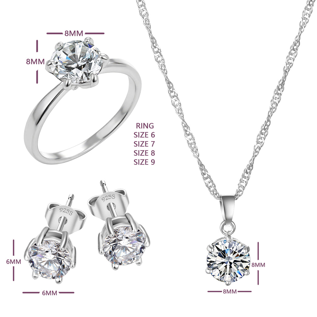 Cubic Zircon Necklace & Earrings Set