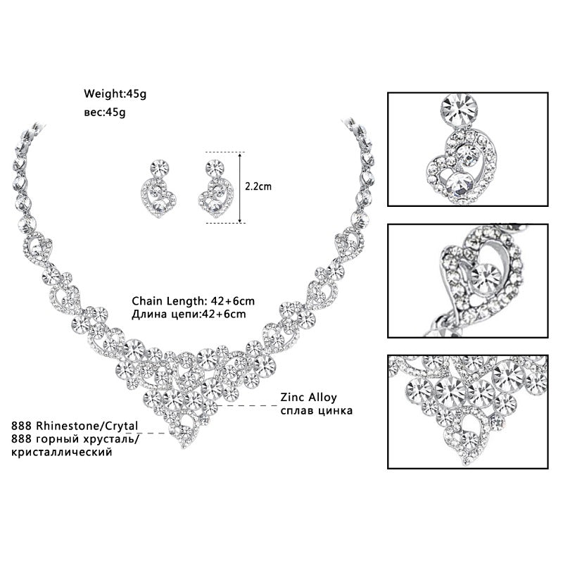 Heart Crystal Wedding Bridal Jewelry Sets