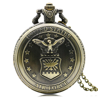 Vintage Style Bronze Air Force Pocket Watch