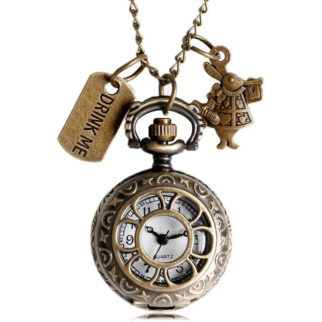 Alice In Wonderland Pocket Watch w/Charms