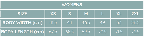 Womens shirt sizes
