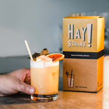 Load image into Gallery viewer, HAY! Straws are 100% compostable and biodegradable, natural drinking straws. This 500 pack of Tall straws is the best solution for entertaining a crowd or to enjoy your favourite drink at home.