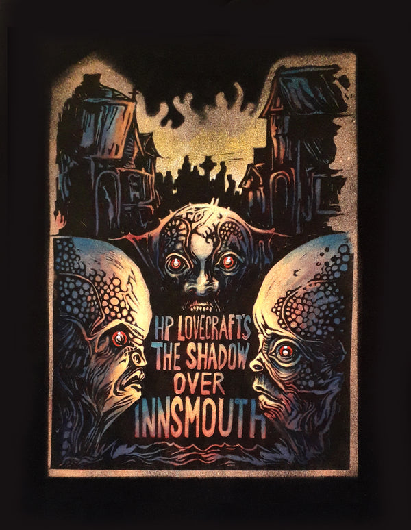 Hand-painted 'The Shadow Over Innsmouth' t-shirt by horror brand Sad Shirts