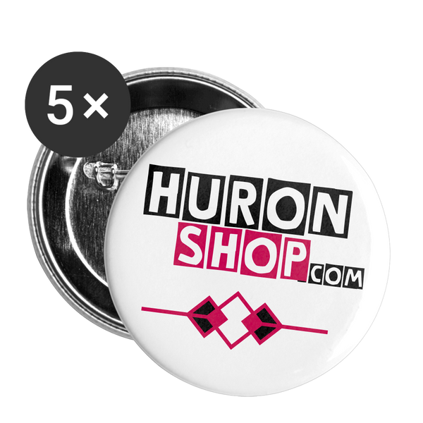 "HuronShop Pink and Black Agile 5 Pack Large 2.2"" Buttons - white"