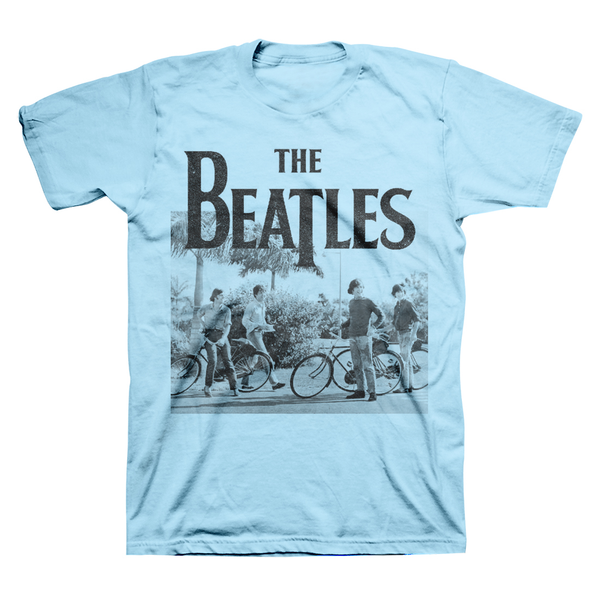 The Beatles Light Blue Bicycle T-Shirt || Great Gift for the Rock and Roll Fan! || - huronshop1