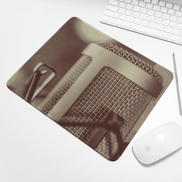 Faded Vocalist: Monochromatic Microphone Design Mouse Pad - huronshop1