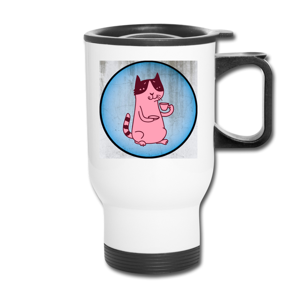 Pinkish Coffee Cat Travel Mug - Blue Back / Spill Proof Mug|| Great Gift for Coffee Drinker || - huronshop1