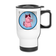 Pinkish Coffee Cat Travel Mug - Blue Back / Spill Proof Mug|| Great Gift for Coffee Drinker ||