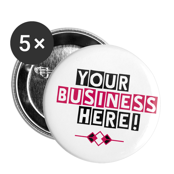 Business Band or Brand Custom Buttons || Large 2.2'' (5-pack) - white