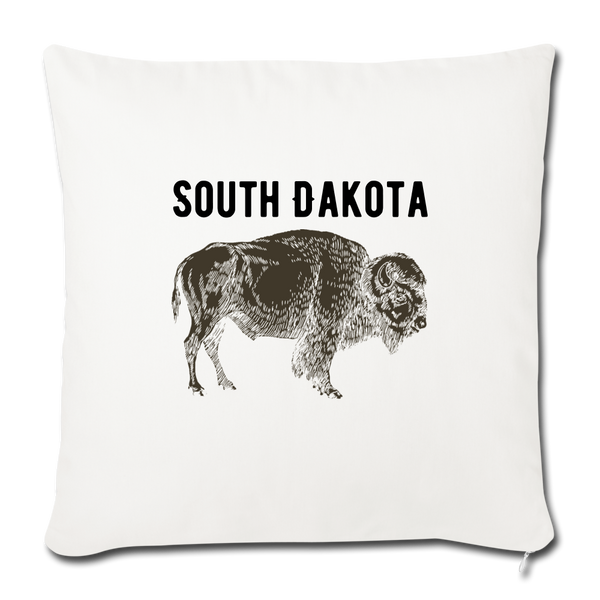 "South Dakota Buffalo Throw Pillow Cover 18"" x 18"" - huronshop1"