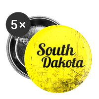 South Dakota on Yellow Scratch - Buttons small 1'' (5-pack) - huronshop1