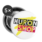 HuronShop Color Pop Yellow Pink Button 5pk || Buttons large 2.2'' (5-pack) - white