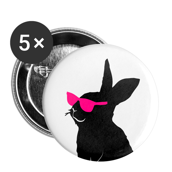 Pink Shades Cool Bunny Buttons small 1'' (5-pack) - huronshop1