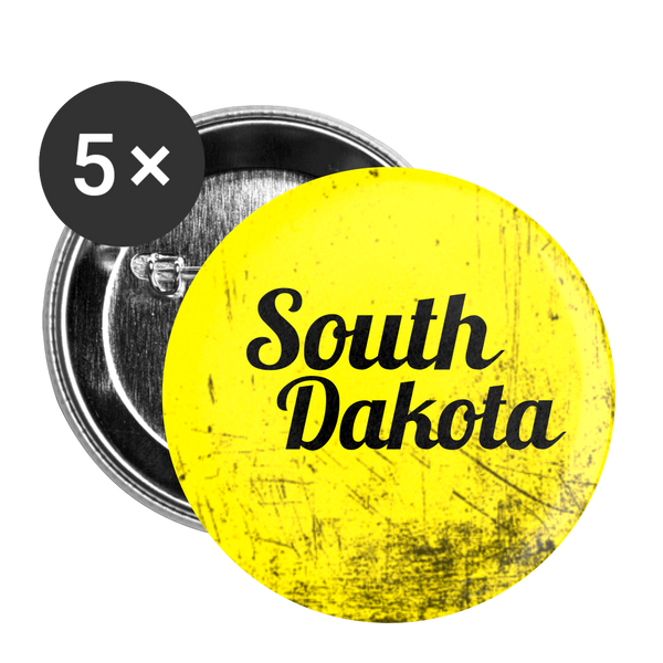 South Dakota on Yellow Scratch - South Dakota State Outline on Yellow - Buttons large 2.2'' (5-pack) - white