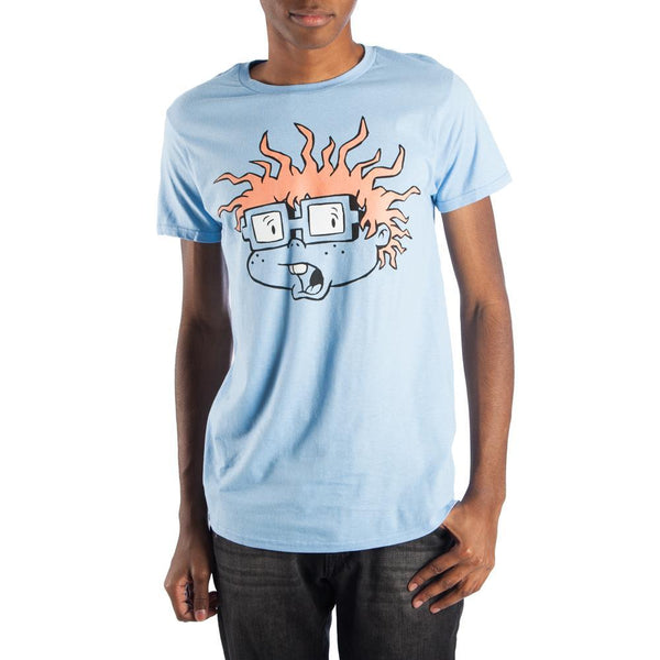 Rugrats Chuckie Finster Men's Blue T-Shirt Tee Shirt || 90s Light Blue Cartoon - Great Geek Gift! || - huronshop1