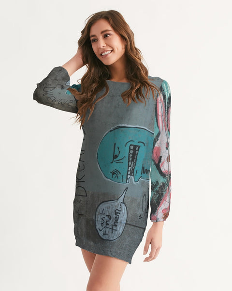 Anonymous Graffiti circa 2009 Minneapolis Minnesota Women's Long Sleeve Chiffon Dress