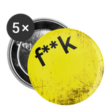 F**K Yellow Scratch Hiip Hop Mustache Buttons small 1'' (5-pack) - huronshop1
