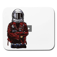 Red Leather Jacket Spaceman - White Horizontal Mouse Pad || Great Father's Day or Tech / Geek / Gamer Gift!! || - huronshop1