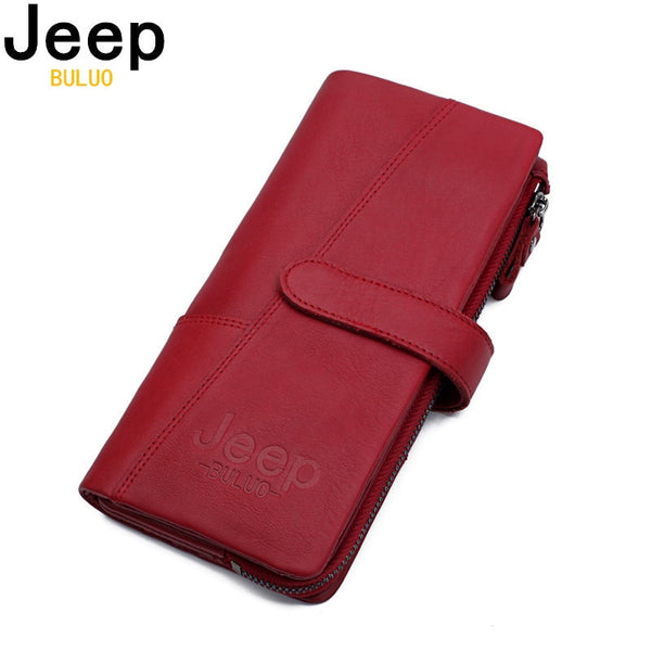 Womens JEEP BULUO Leather Wallet Clutch || Genuine Cow Leather Wallet for Her! || Great Gift for Fashion forward Women! || - huronshop1