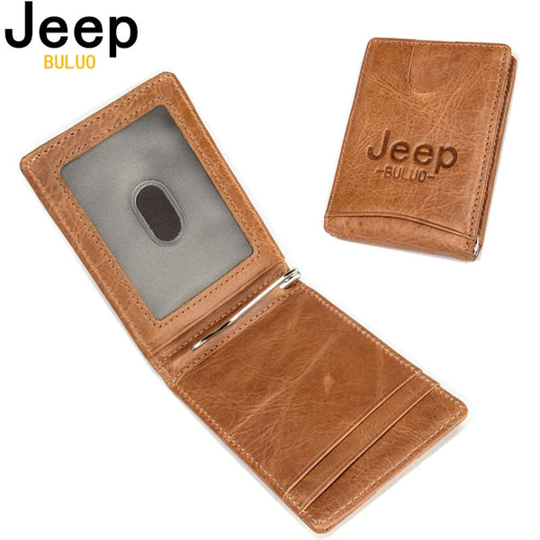 Mens JEEP BULUO 100% Genuine Leather Wallet || Men's Business Casual Leather Wallet || - huronshop1