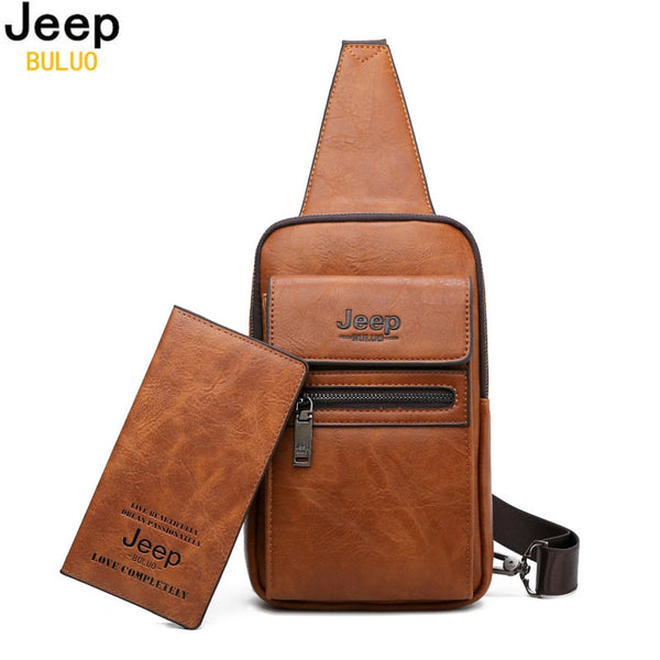 New 2019! Mens JEEP BULUO Leather Cross Body Bag || Men's Business Shoulder Bag - Large || - huronshop1